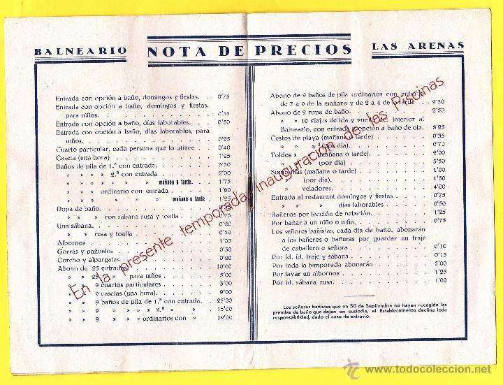 Coleccionismo: FOLLETO PUBLICITARIO DEL BALNEARIO LAS ARENAS. PLAYA DEL CABAÑAL, VALENCIA, 1934. - Foto 3 - 48617001