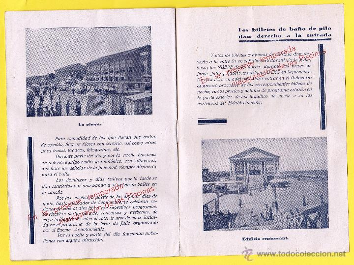 Coleccionismo: FOLLETO PUBLICITARIO DEL BALNEARIO LAS ARENAS. PLAYA DEL CABAÑAL, VALENCIA, 1934. - Foto 4 - 48617001