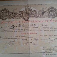 Coleccionismo: 1935-TÍTULO DE BACHILLER-SEGUNDA REPÚBLICA-35X50 CM. Lote 48702336