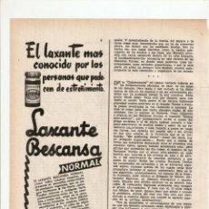 Coleccionismo: AÑO 1959 RECORTE PRENSA PUBLICIDAD LAXANTE BESCANSA NORMAL. Lote 48779107