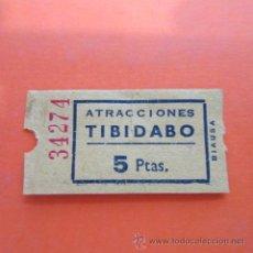 Coleccionismo: ENTRADA - ATRACCIONES TIBIDABO 5 PESETAS. Lote 48857513