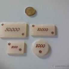 Coleccionismo: LOTE DE 4 FICHAS DE CASINO O JUEGO. FICHA DE 1000, 5000, 50.000, Y 10.000. Lote 49169980