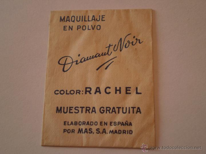 ANTIGUA MUESTRA GRATUITA MAQUILLAJE POLVO DIAMANT NOIR.MAS,S,A.MADRID. (Coleccionismo - Laminas, Programas y Otros Documentos)