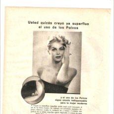 Coleccionismo: AÑO 1960 RECORTE PRENSA PUBLICIDAD COSMETICA VITAMOL POLVOS FACIALES MADERAS DE ORIENTE MYRURGIA. Lote 48980009