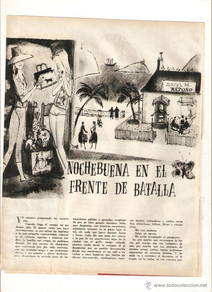 AÑO 1960 RECORTE PRENSA CUENTO RELATO NOCHE BUENA EN EL FRENTE DE BATALLA BEGOÑA GARCIA DIEGO MUNOA (Coleccionismo - Laminas, Programas y Otros Documentos)