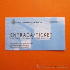 Coleccionismo: ENTRADA - AYUNTAMIENTO DE VALENCIA ENTRADA GRATUITA. Lote 49162793
