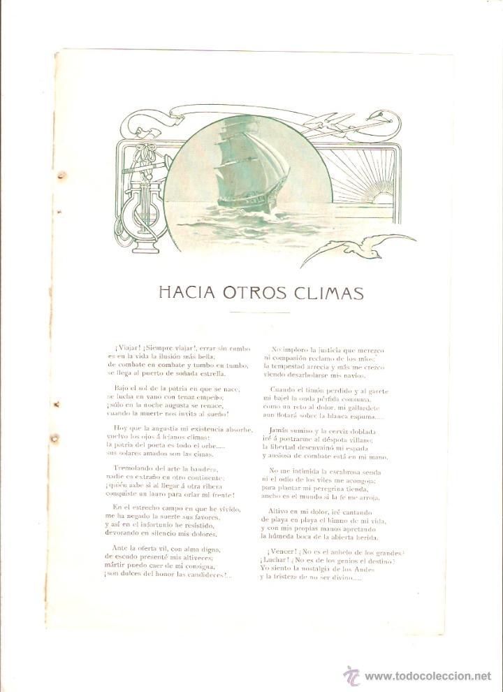 AÑO 1908 RECORTE PRENSA POESIA HACIA OTROS CLIMAS JOSE M CARBONELL DIBUJO CALDERE CAMPS (Coleccionismo - Laminas, Programas y Otros Documentos)