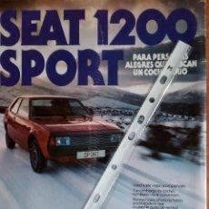 Coleccionismo: PUBLICIDAD AUTOMOVIL SEAT 1200 SPORT. Lote 98801916