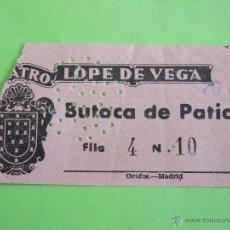 Coleccionismo: ENTRADA TEATRO LOPE DE VEGA - 21 AGOSTO 1951 - LA CUARTA DE APOLO - MARUJA CORDOBA. Lote 49521955