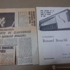 Coleccionismo: PROGRAMA FIRMADO-CONCIERTO DE CLAVICORDIO POR EL SUIZO BERNARD BRAUCHLI-1979-RECORTES PRENSA. Lote 49534218