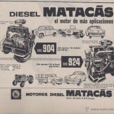 Coleccionismo: PUBLICIDAD MOTORES MATACAS PARA AUTOMOVILES. Lote 61576443