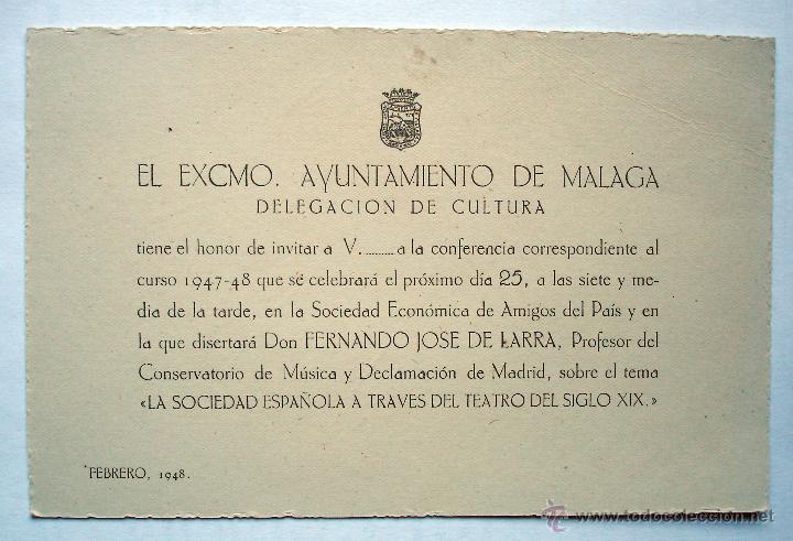 INVITACIÓN CONFERENCIA FERNANDO JOSÉ DE LARRA SOCIEDAD ECONÓMICA DE AMIGOS DEL PAÍS. MÁLAGA, 1948. (Coleccionismo - Laminas, Programas y Otros Documentos)
