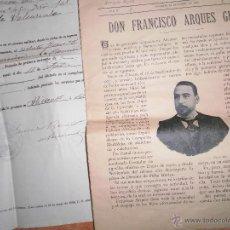 Coleccionismo: FRANCISCO ARQUES GUERI ALICANTE DOCUMENTO MILITAR EJERCITO VALENCIA 1902 CAPITAN GENERAL CON SELLO. Lote 49584139