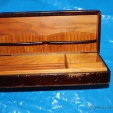 Coleccionismo - CIGARRERA TABAQUERA EN PIEL INTERIOR MADERA - 49621652