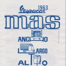 Coleccionismo: PUBLICIDAD MOTOCARRO VESPACAR DE VESPA DE 1963. Lote 61528983