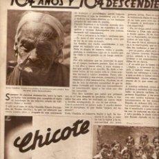 Coleccionismo: AÑO 1934 RECORTE PRENSA TOCINA SEVILLA CANDIDA TIRADO FERNANDEZ CENTENARIA 104 AÑOS. Lote 49930565