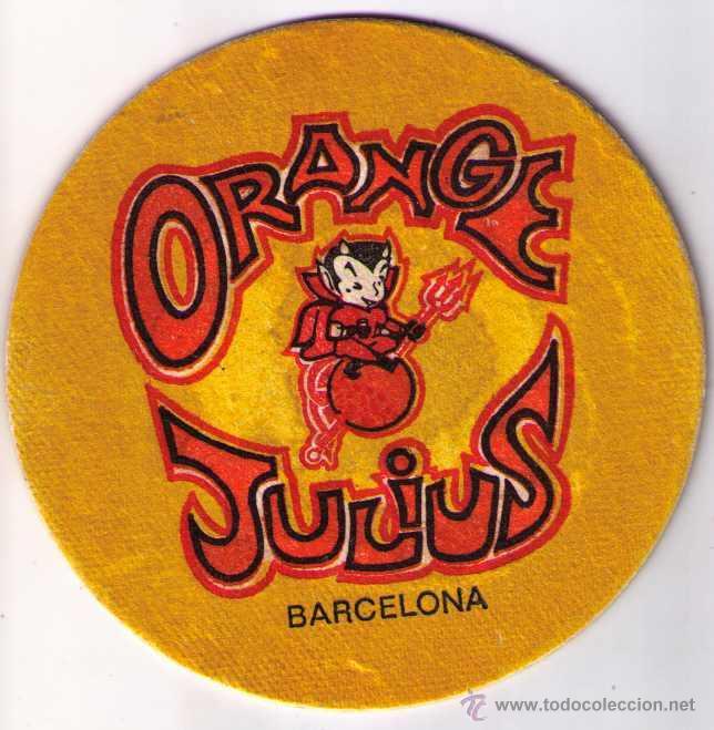POSAVASOS ORANGE JULIUS BARCELONA 10'50 CM DIAMETRO ¿AÑOS 60/70? (Coleccionismo - Varios)