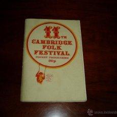 Coleccionismo: MANUAL DEL 11 FESTIVAL FOLK DE CAMBRIDGE AÑOS 70. Lote 50109694