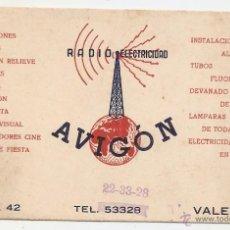 Coleccionismo: VALENCIA. TARJETA COMERCIAL. RADIO ELECTRICIDAD. Lote 50138647