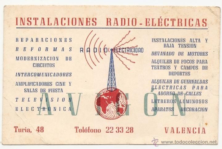 VALENCIA. TARJETA COMERCIAL. RADIO ELECTRICIDAD (Coleccionismo - Laminas, Programas y Otros Documentos)