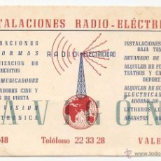 Coleccionismo: VALENCIA. TARJETA COMERCIAL. RADIO ELECTRICIDAD. Lote 50138653