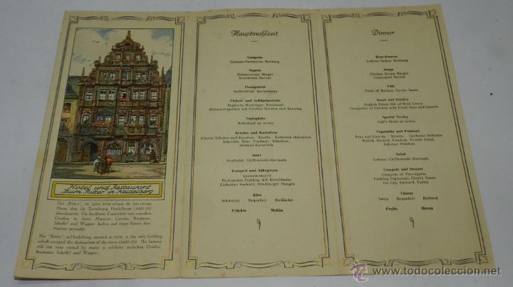 Coleccionismo: CARTA, MINUTA O MENU DEL BARCO MILWAUKEE, NAVIERA HAMBURG-AMERIKA-LINIE, TEXTO EN ALEMAN, TRIPTICO, - Foto 2 - 50228167