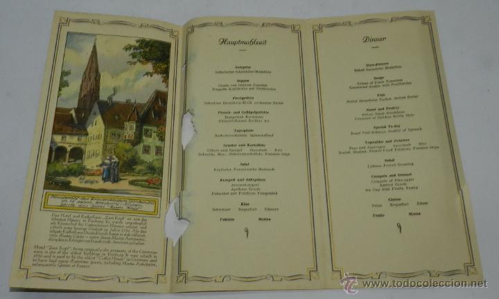 Coleccionismo: CARTA, MINUTA O MENU DEL BARCO MILWAUKEE, NAVIERA HAMBURG-AMERIKA-LINIE, TEXTO EN ALEMAN, TRIPTICO, - Foto 2 - 50228237