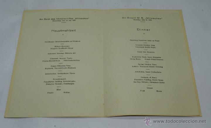 Coleccionismo: CARTA, MINUTA O MENU DEL BARCO MILWAUKEE, NAVIERA HAMBURG-AMERIKA-LINIE, CENA CELEBRADA EL 2 DE AGOS - Foto 2 - 50229031