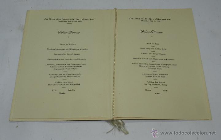Coleccionismo: CARTA, MINUTA O MENU DEL BARCO MILWAUKEE, NAVIERA HAMBURG-AMERIKA-LINIE, CENA POLAR CELEBRADA EL 23 - Foto 2 - 50229071