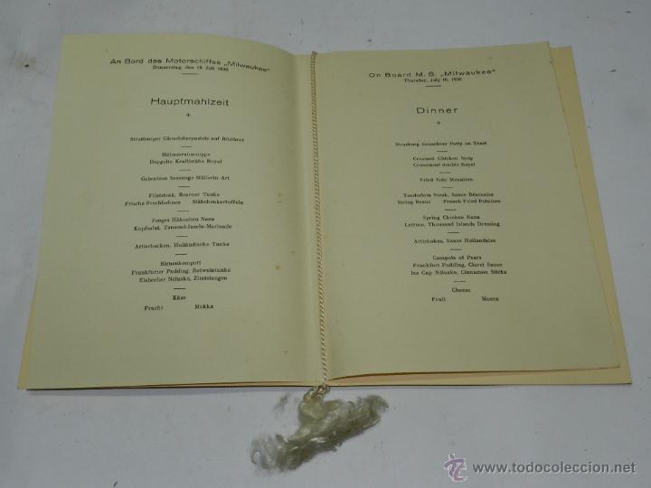 Coleccionismo: CARTA, MINUTA O MENU DEL BARCO MILWAUKEE, NAVIERA HAMBURG-AMERIKA-LINIE, CENA CELEBRADA EL 2 DE AGOS - Foto 2 - 50229156