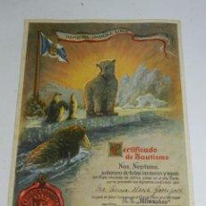 Coleccionismo: CERTIFICADO DE BAUTISMO POLAR DEL BARCO M.S. MILWAUKEE, NAVIERA HAMBURG-AMERIKA-LINIE, 23 DE JULIO D. Lote 50229258