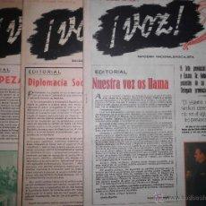 Coleccionismo: PERIODICO ANTIGUO Nº 1 ,2 3 VOZ BANDERIN SINDICALISTA ALICANTE 1949 TURRON FABRICA PAYA RICO IBI. Lote 50250800