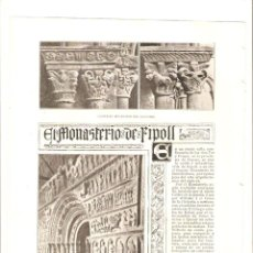 Coleccionismo: AÑO 1903 RECORTE PRENSA EL MONASTERIO DE RIPOLL ROMANICO MONESTIR CLAUSTRO. Lote 50251534