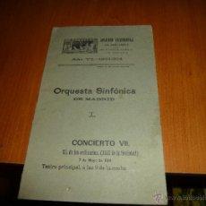 Coleccionismo: PROGRAMA DE LA SOCIEDAD FILARMONICA DE SANTANDER, AÑO VI 1913-1914, ORQUESTA SINFONICA DE MADRID. Lote 50258414