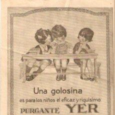 Coleccionismo: AÑOS 20 RECORTE PRENSA PUBLICIDAD PURGANTE YER. Lote 50375367