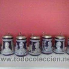Coleccionismo: HERMOSO LOTE DE 7 JARRAS DE CERVEZA -VINTAGE- PORCELANA-CERAMICA. Lote 50624163