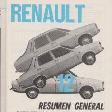Coleccionismo: REPORTAJE AUTOMOVIL RENAULT 12 DE ( 25 PAGINAS). Lote 50729414