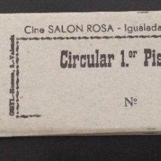 Coleccionismo: TACO DE 50 ENTRADAS VERDES DE CIRCULAR SIN USAR DEL CINE SALÓN ROSA DE IGUALADA, BARCELONA. Lote 50754642