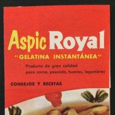 Coleccionismo: RECETARIO, ASPIC ROYAL, DESPEGABLE RECETAS, MEDIDAS 80X106MM. Lote 50761254