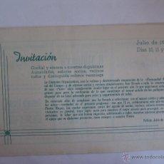 Coleccionismo: INVITACION AUTORIDADES SEÑORES SOCIOS VECINOS Y DISTINGUIDA COLONIA VERANIEGA PALLEJA 1949 . Lote 50969880