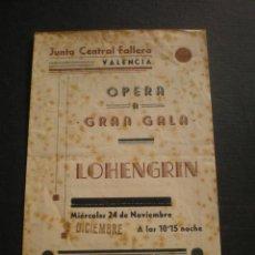 Coleccionismo: JUNTA CENTRAL FALLERA, VALENCIA, PROGRAMA DE OPERA, AÑOS 40. . Lote 51018920