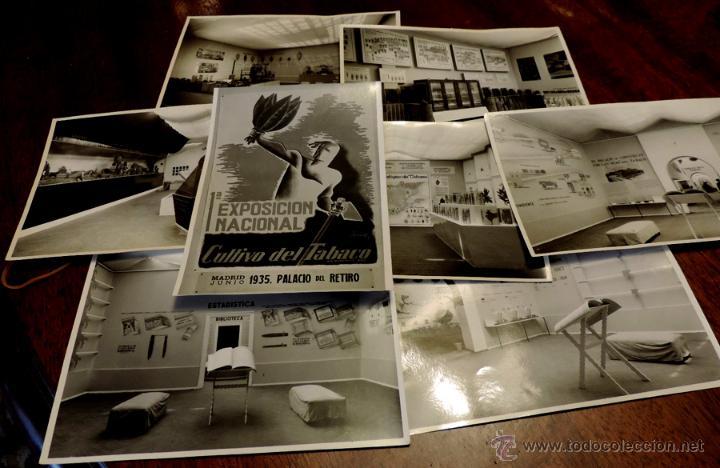 22 FOTOGRAFIAS DE LA 1ª EXPOSICION NACIONAL DEL CULTIVO DEL TABACO, AÑO 1935, PALACIO DEL RETIRO, MA (Coleccionismo - Objetos para Fumar - Otros)