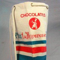 Coleccionismo: ANTIGUO MACUTO BOLSA EN LONA. PUBLICIDAD CHOCOLATES PLIN LA HERMINIA. GIJON ASTURIAS. Lote 117602847