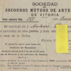 Coleccionismo: SOCORROS MUTUOS ARTESANOS VITORIA ALAVA PAIS VASCO EUSKADI RECAUDAR IMPUESTOS MUTUA SEGUROS LINACERO. Lote 51149010