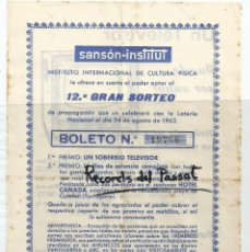 Coleccionismo - FOLLETO PUBLICIDAD *SANSON INSTITUT* - CON BOLETO PARA SORTEO DE UN TELEVISOR - 1963 - 51251935