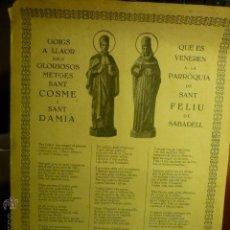Coleccionismo: GOZOS -GOIGS GLORIOSOS MEDICOS SAN COSME Y SAN DAMIAN-PARROQUIA S.FELIU-SABADELL --CATALAN BB. Lote 51466964