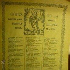 Coleccionismo: GOZOS -GOIGS VIRGEN STA.LUCIA ABOGADA DE LA VISTA.--EN CATALAN EDIC. 1908. Lote 51466989