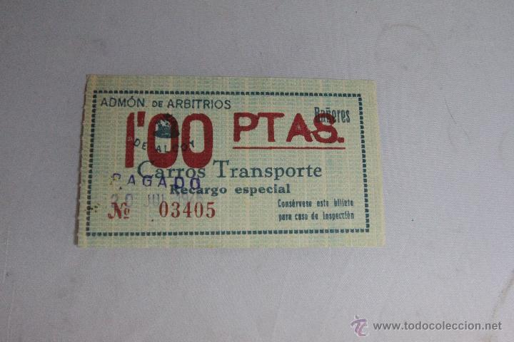 ADMÓN DE ARBITRIOS DE ALCOY. BAÑERES. CARROS DE TRANSPORTE, RECARGO ESPECIAL 1PTA. 1945 -DOCG- (Coleccionismo - Laminas, Programas y Otros Documentos)