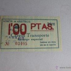 Coleccionismo: ADMÓN DE ARBITRIOS DE ALCOY. BAÑERES. CARROS DE TRANSPORTE, RECARGO ESPECIAL 1PTA. 1945 -DOCG-. Lote 51518993