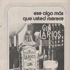 Coleccionismo: PUBLICIDAD BEBIDA GINEBRA GIN LARIOS. Lote 166255790